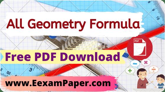 Geometry Formulas PDF, Geometry Formula PDF, Geometry Formula for ssc, All Geometry formulas, Geometry Formulas